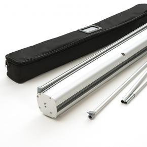 Lieferumfang: Roll-up Gehäuse inkl. Druck, Gestänge und Transporttasche