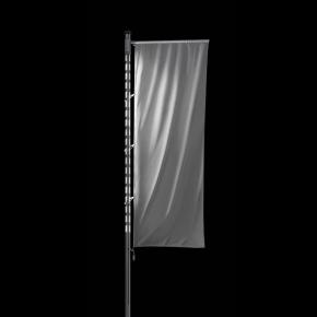 SIRIUS A: Beleuchteter Alu-Fahnenmast mit Kurbelhissvorrichtung und Ausleger